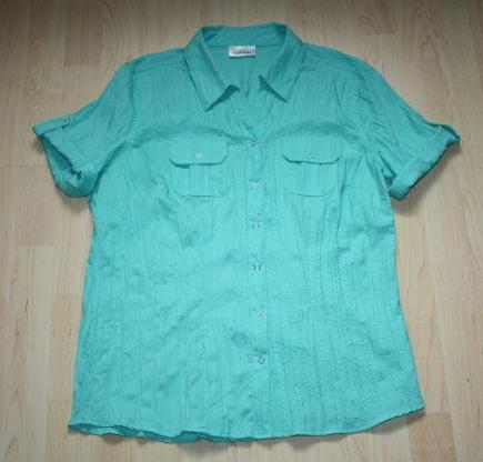 Damen Kurzarm Bluse Crinkle Crash Knitterbluse kurzärmelig Halbarm Hemd türkis grün Gr. 40 M NEU