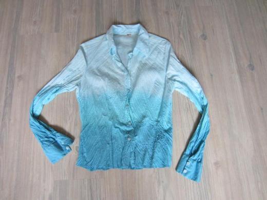 Damen lang Arm Crinkle Bluse, Türkis, Größe S von S'Oliver