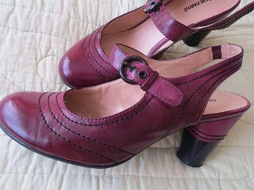 Schuhe, Slingbacks, Gr.37, aubergine-schwarz, von Graceland