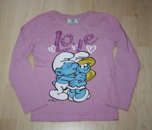 Mädchen Pullover Schlümpfe Kinder Sweatshirt Langarmshirt Schlumpfine Longsleeve lila violett Gr. 128