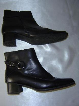 Jana echt Leder Stiefeletten Gr. 41 7½ schwarz Blockabsatz 5cm Reißverschluss