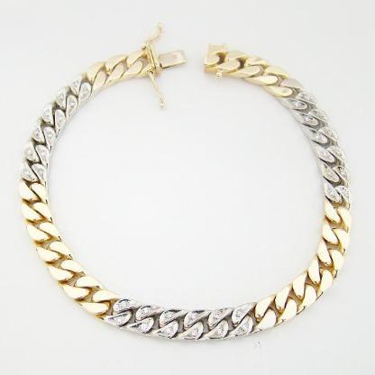 Armband Gold 585er Diamanten Bicolor 14 kt. Panzerarmband 5012