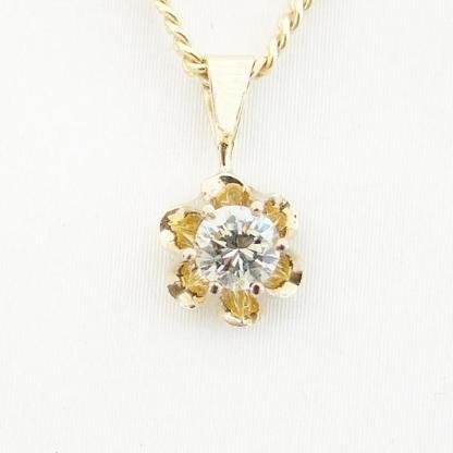 Anhänger Gold 585er 0,18 ct. Brillant Solitär 14 kt. Diamant 6072