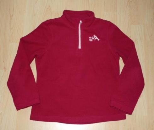 Mädchen Fleece Pullover Kinder Fleeceshirt Langarm Sweatshirt Pulli mit Stehkragen pink Gr. 134/140