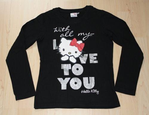 Hello Kitty Kinder Pullover Mädchen Langarm Sweatshirt Pulli Langarmshirt Longsleeve schwarz Gr. 140 NEU