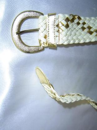 Astor Damengürtel beige gold geflochten BW 80 Vintage 80er Jahre Breite 4,5cm - 195