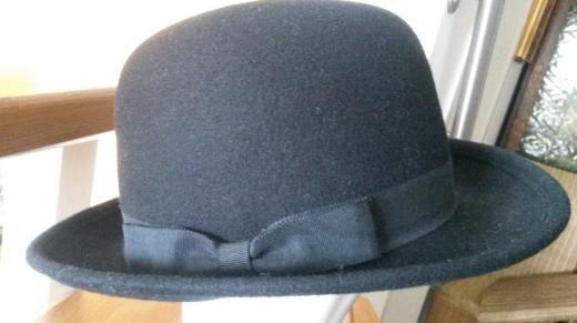 Damenhut, Homburger, schwarz, Filz, 54 cm, handgemacht