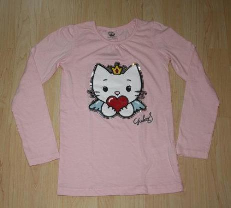 Angel Cat Sugar Mädchen Pullover Longsleeve Kinder Sweatshirt Pulli Langarmshirt Pailletten rosa Gr. 140 NEU