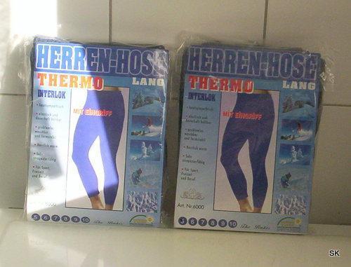 2 lange Unterhosen in blau mit Eingriff