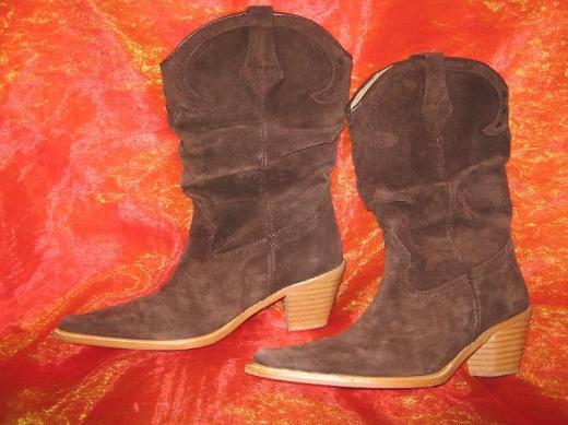 NEU* Stylische * Velours- Leder * Cowboy * Stiefel * Made in Spain * Gr. 37/ 4, braun*