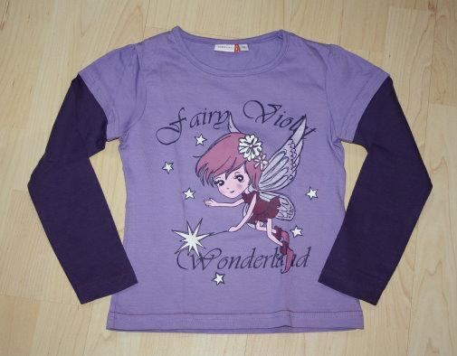 Mädchen Pullover Fee Kinder Lagenlook Sweatshirt Langarmshirt Pulli Longsleeve lila violett Gr. 116 NEU