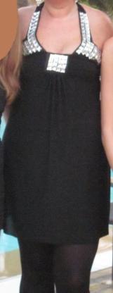 Gr. 10 (M/L): Kleid mit Glitzersteinen, schwarz, Adlib