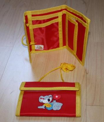 Kinder Geldbeutel Geldbörse Brustbeutel Portemonnaie Portmonee Brieftasche Tapsi Bär rot/gelb NEU