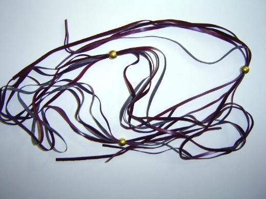 Damen Gürtel zum binden 80cm rotviolett dünn mit Perlen Gold Gesamtlänge 170cm - 257