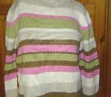 Pullover Gr. 176 beige weiß rosa grün braun gestreift – 452 - Bad Krozingen