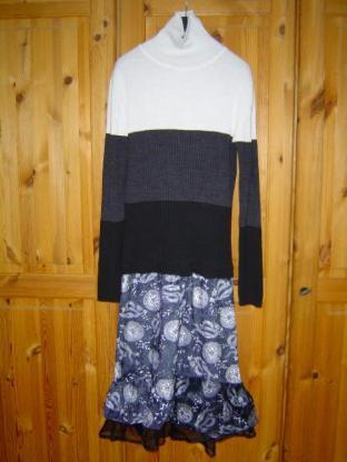 Unikat Handarbeit Mädchenkleid Gr. 152, 158 Kleid schwarz weiß grau – 492