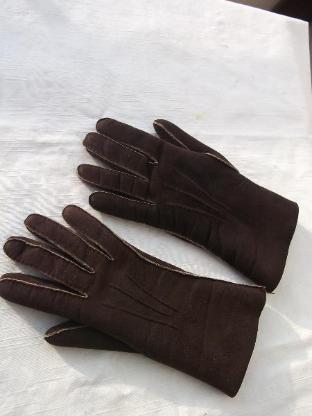 Damen Fell-Handschuhe, dunkelbraun