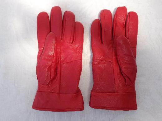 Damen Handschuhe, Leder, Gr. M, rot