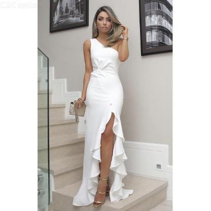 Sexy 1-Schulter-Kleid mit gerafften Schlitzen