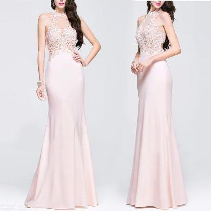 Sexy Abendkleid besticktes Spitzenkleid für Frauen