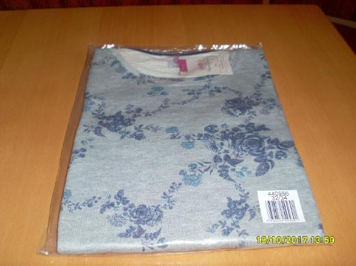 Damen Shirt langarm Gr. 34 grau mit Blumenmuster v. Flashlights