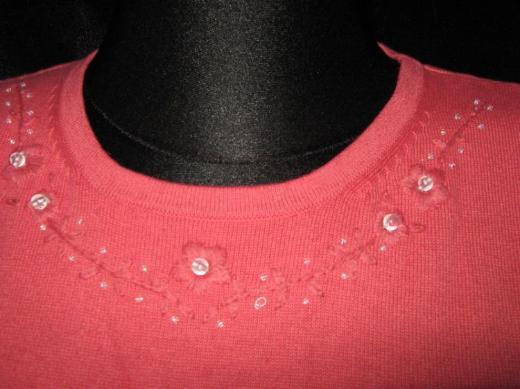 NEU* Perlen- Stickerei * ärmelloser * Feinstrick * Pullover ''modern soul'' Gr. 40- 42/ M, hummer *
