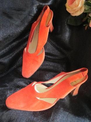 Echt Leder * Kitten Heels * High Heels * Slingbacks * Sling Pumps * Schuhe ''APART'' Gr. 37/ 4 * terra- cotta * mandarin *