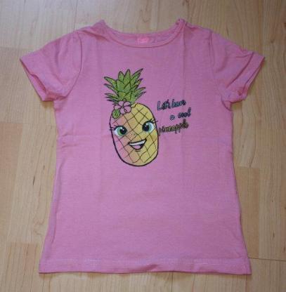 Mädchen Kurzarm T-Shirt Ananas Kinder Sommershirt Pineapple Kurzarmshirt Glitzer rosa pink Gr. 110