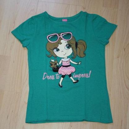 Mädchen Kurzarm T-Shirt Girl Kinder Rundhals Sommershirt Glitzer Baumwolle Kurzarmshirt grün Gr. 116