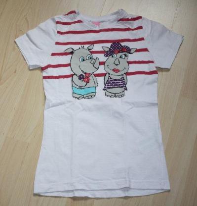Mädchen Kurzarm T-Shirt Nilpferd Kinder Kurzarmshirt Rundhals Sommershirt Motiv Glitzer Baumwolle weiß Gr. 128