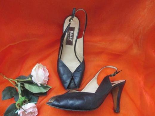 "NEUw* Klassische * Original Vintage * Leder * High- Heels * Peep- Toes * Sling- Pumps * Schuhe ""Bally"" Gr. 38- 39/6, dunkelblau *"