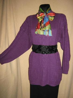 """Vintage * Oversize * Grobstrick- Pullover/ Kleid """"BASE CASUALS"""" Gr. 38- 40/ S- M, lila*"""