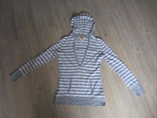 Damen lang Arm Kapuzen Shirt grau/weiß gestreift Gr. S QS
