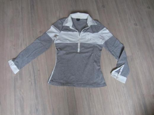 Damen lang Arm Shirt grau/weiß Gr. M Mitch&Co