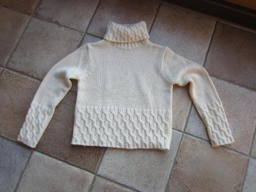 Damen Rollkragen Pullover cremefarbig in Gr. S von Miss H