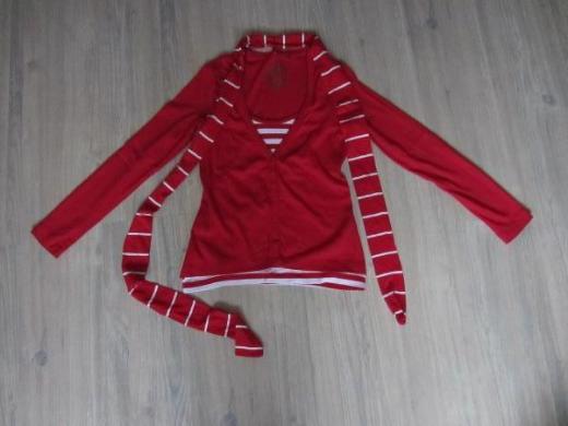 Damen Lang Arm Shirt mit Schal rot/weiß Gr. 36 s.Oliver