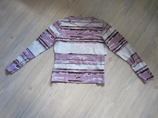Damen Lang arm Shirt weiß/lila/violett Gr. L S.Oliver