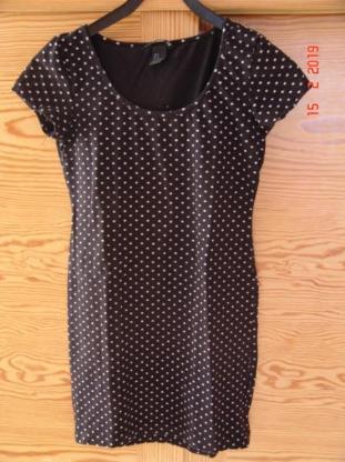 H & M Basic Sommerkleid - Gr. S kurzer Arm - schwarz mit Punkten
