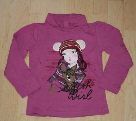 C&A Mädchen Rollkragen Pullover Shirt Kinder Sweatshirt Rolli Langarmshirt Palomino lila violett Gr. 110