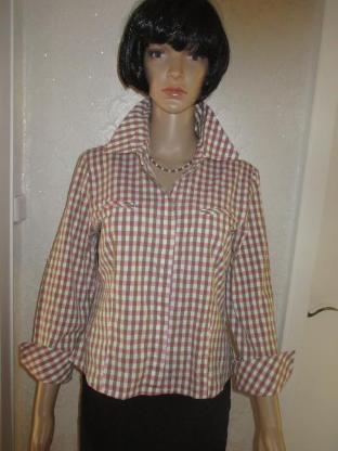 NEU* Business * Freizeit * Karo * Hemd- Bluse ''BIBA by ESCADA'' Gr. 36- 38/ S, pink- weiß- khaki *