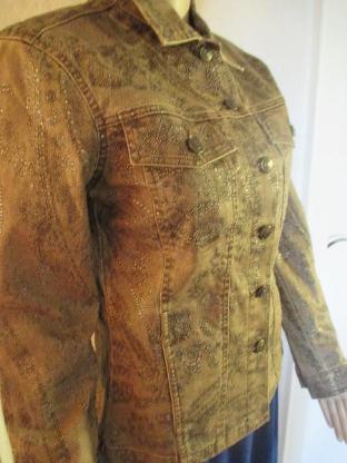 """NEU Sexy * Barock- Style * Jeans- Jacke im Glitzer Look """"BIBA by ESCADA"""" Gr. 34- 36/ XS- S * braun *"""