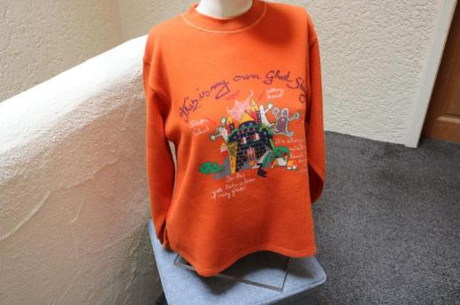 #Feinstrickshirt, Gr. 140, #NEU, #Halloween-Print, #orange, #Ding Dong