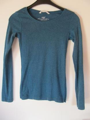 Shirt, langärmlig, blaugrün meliert, Größe XS - Mülheim an der Ruhr