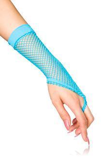 Für 10 € NEU Netzhandstulpen kurz Handschuhe Stulpen Kostüm blau Karneval
