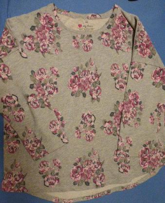 Damen Sweat Shirt Gr. 48 50 Grau mit Roa/Weinrot Rosen