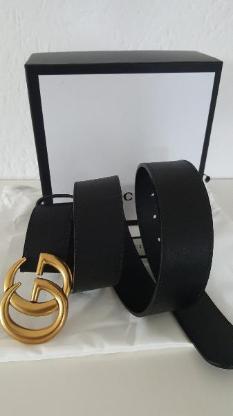 orig. Gucci Gürtel Leder Belt GG Goldschnalle schwarz Leder Unisex