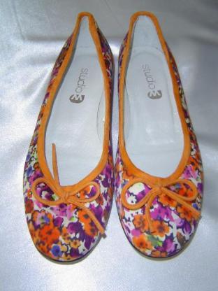studio M Damen Ballerinas Gr. 37 Blumenmuster echt Leder + Textil multicolor - 118