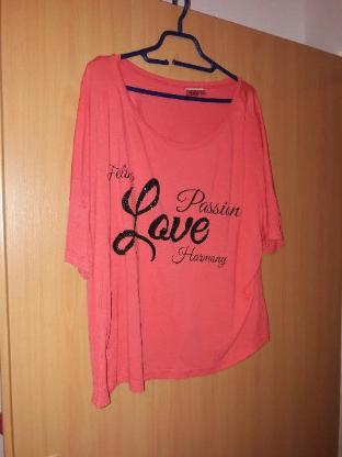 Tshirt Gr S/M orange lachs Damen Oberteil bedruckt bestickt LOVE