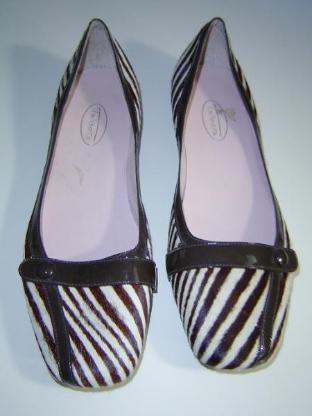 TALBOTs Damen echt Fell Ballerinas Gr. 41 sehr schmal gestreift Genuine Leder – 560