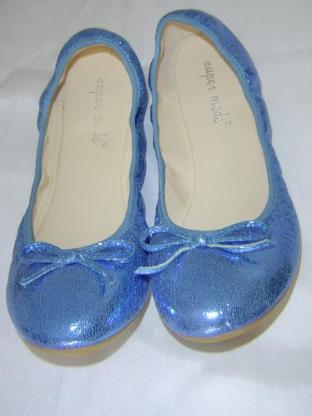 super made Ballerinas Gr. 40 blau glitter mit Gummibund ungetragen – 559